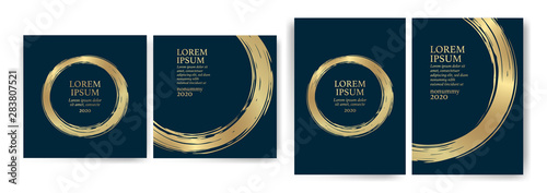 Fototapeta Templates with blue and gold designs. Blue and gold strokes. Idea for wedding invitation, event, party, anniversary. Luxury, elegance, simple, artistic. obraz