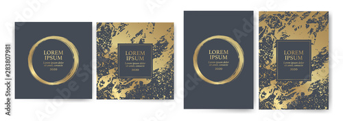 Carta da parati Set of design templates with golden texture, marble effect