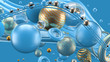 Beautiful abstract background with volume elements, balls, texture, lines. 3d illustration, 3d rendering.