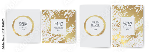 Photo Set of design templates with golden texture, marble effect