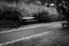 Lonely Bench In A Park In Uppsala, Sweden