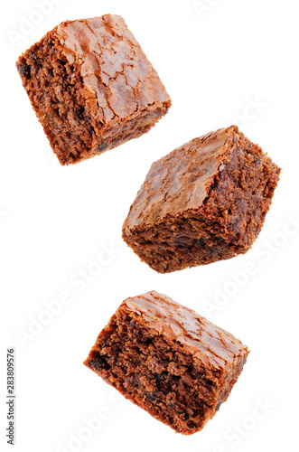 Fotografiet Chocolate brownie cake on a white isolated background