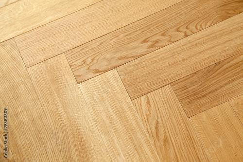 Obraz Seamless wood parquet texture, chevron sand color - fototapety do salonu