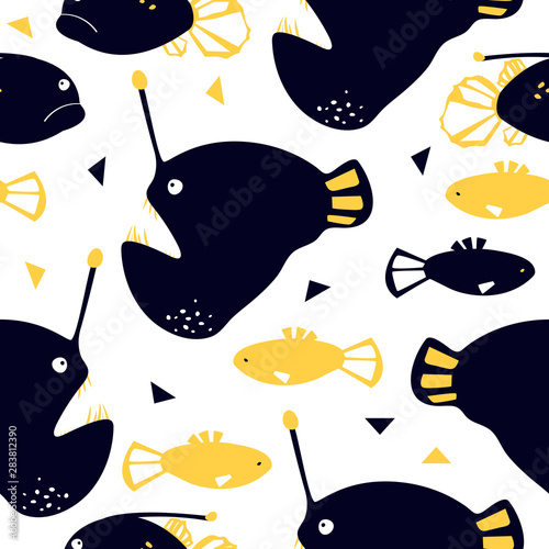 Photo Seamless pattern with abyssal sea animal - angler fish