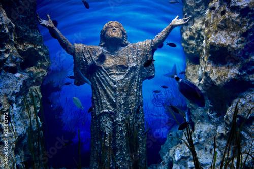 Fototapeta posąg zatopiony w morzu obraz