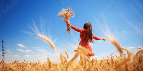 Fototapeta Happy woman enjoying the life in the field Nature beauty, blue sky and field with golden wheat. Outdoor lifestyle. Freedom concept. Woman jump in summer field obraz
