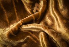 Abstract Yellow Golden Creasy Velvet Fabric Background Texture