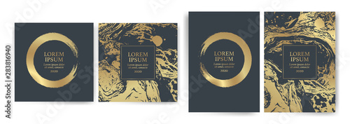 Acrylic Prints Form Set of design templates with golden texture, marble effect. Luxury and elegance Suitable for wedding invitations, VIP events, covers, promotions