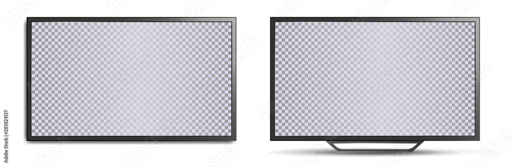 Fototapeta TV mockup with blank screen. Two realistic 3D TVs, wall-mounted and with legs for horizontal surfaces. Modern stylish lcd panel, led type. Large computer monitor display mockup. Vector lcd set