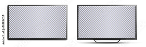 Obraz TV mockup with blank screen. Two realistic 3D TVs, wall-mounted and with legs for horizontal surfaces. Modern stylish lcd panel, led type. Large computer monitor display mockup. Vector lcd set - fototapety do salonu