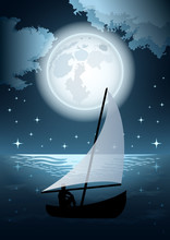 Man In A Boat And Full Moon