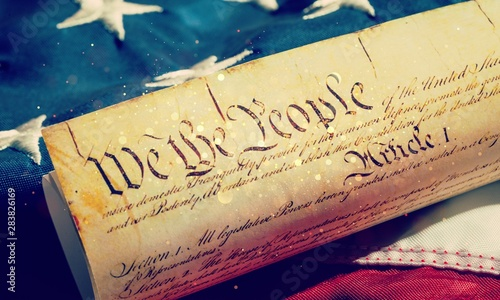 Foto Roll of vintage US Constitution, Patriotism, Fourth of July background