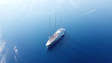 Aerial Drone Photo One Of World's Largest Sailing Yacht Near Port Of Corfu