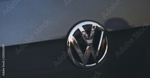 Fototapeta PARIS, FRANCE - NOV 29, 2016: Logotype of Volkswagen VW car manufacturer on a ma