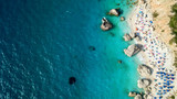 Aerial drone photo of popular beach of Kavalikefta with turquoise clear sea in island of Lefkada, Ionian, Greece