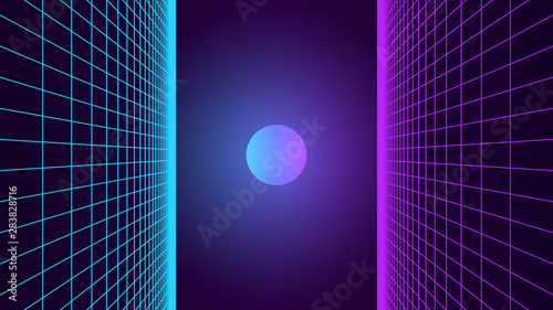 Synthwave background Fotobehang