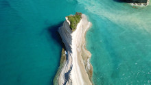 Aerial Drone Bird's Eye View Photo Of Iconic White Rock Volcanic Formations Of Canal D' Amour In Sidari Area, North Corfu Island, Ionian, Greece