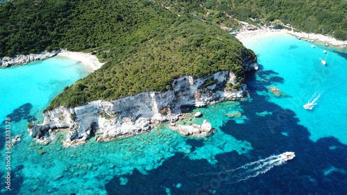 Keuken foto achterwand Turkoois Aerial drone photo of tropical paradise turquoise beach of Voutoumi with sail boats docked in island of Anti paxos, Ionian, Greece