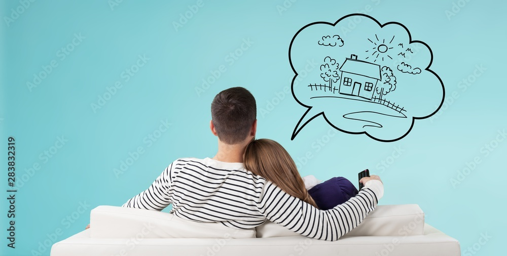 Fototapeta Home think dream house buy couple own