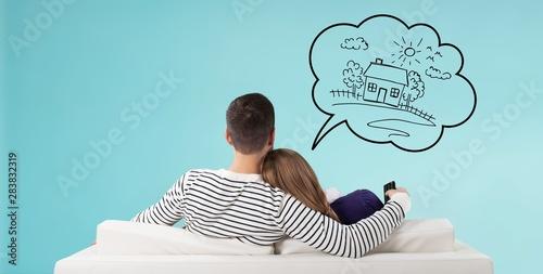 Obraz na płótnie Home think dream house buy couple own