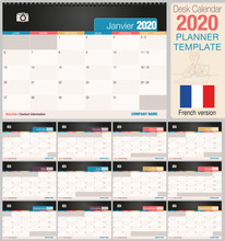 Useful Desk Calendar 2020 With Space To Place A Photo. Size: 210 Mm X 148 Mm. French Version - Vector Image