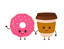 Happy Cute Smiling Donut And C...