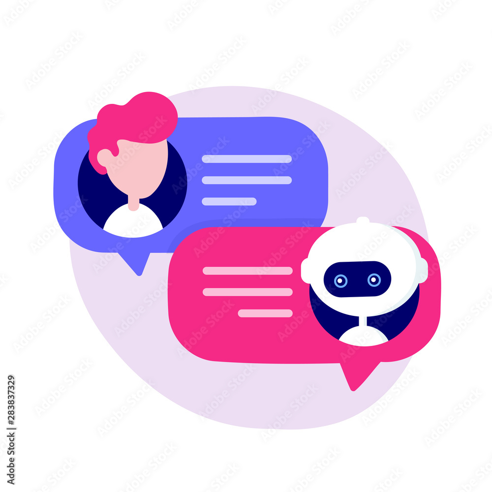 Fototapeta Cute chat bot chatting with man person.