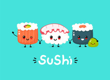 Cute Happy Funny Smiling Sushi...
