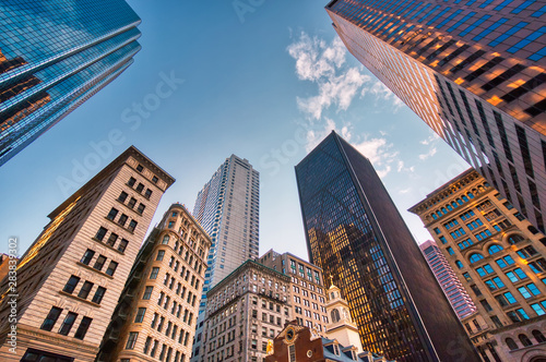 Boston downtown financial district and city skyline - 283839302