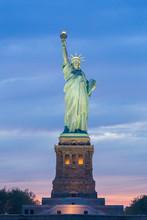Statue Of Liberty At Dusk, New York City, USA.
