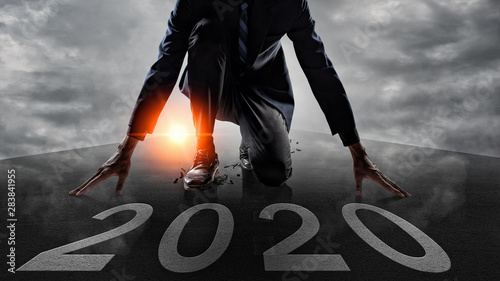Businessman Starting to new year,The readiness of leaders, vision and new ideas are beginning in 2020 Canvas Print