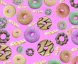 Leinwanddruck Bild - Assorted donuts background with chocolate frosting and variety of flavors mix of multi colored sweet.