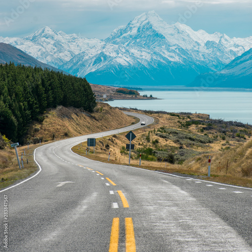 Papiers peints Vieux rose Road at mt cook