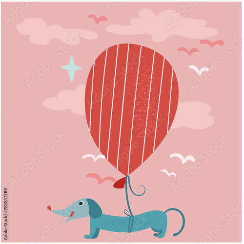 Dog on balloon flat color illustration