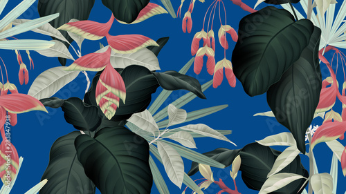 Botanical seamless pattern, various green leaves and red flowers on blue, pastel vintage theme