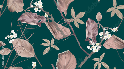 Botanical seamless pattern, white flowers and dried leaves with branch on green, pastel vintage theme