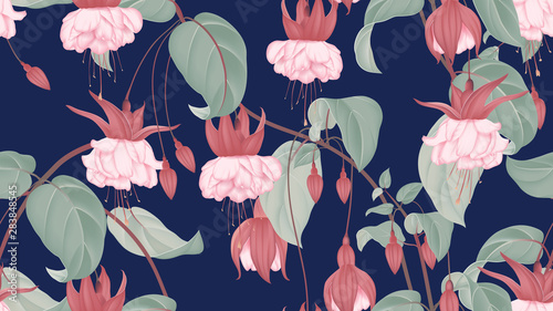 Botanical seamless pattern, Fuchsia icy pink flowers with leaves on dark blue, pastel vintage theme