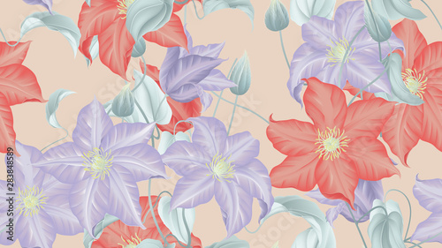 Botanical seamless pattern, red and purple clematis flowers with leaves on light orange, pastel vintage theme