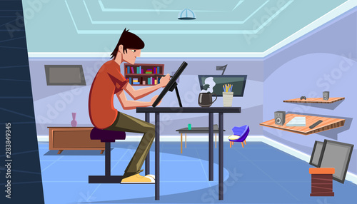 Pinturas sobre lienzo  Young professional artist illustrator draw with a pen on a tablet in his desk at