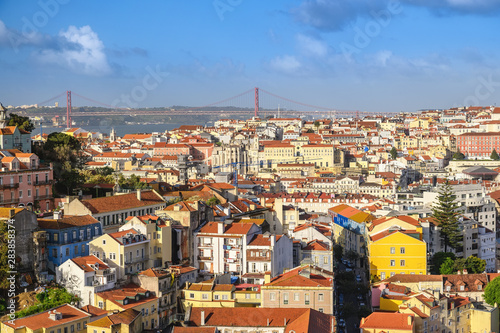 Fotografie, Obraz  Lisbon Portugal, aerial view city skyline at Lisbon Baixa district