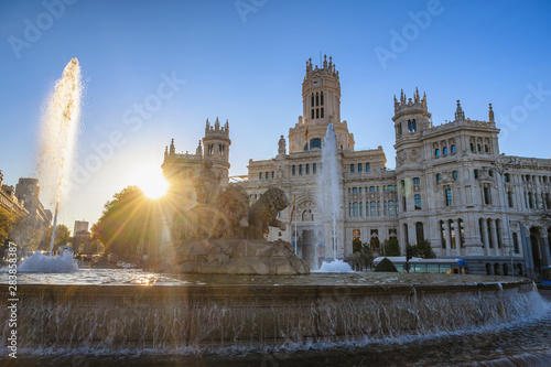 Fotografie, Obraz  Madrid Spain, city skyline sunrise at Cibeles Fountain and CentroCentro