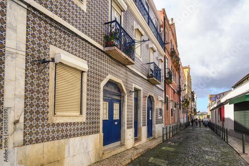 Obraz na plátně  Lisbon Portugal, city skyline of local street at Lisbon Baixa district