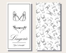 Logo And Seamless Pattern For Fashionable Women's Lingerie Collection, Vector Illustration Sketch. BRAND STYLE Of Women's Lace Underwear, Panties, Bras, Corsets, Bodies, Garters, Stockings, Pajamas,.