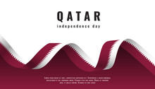 Qatar Independence Day Celebration Banner With Ribbon