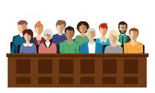 Twelve Jurors Sit In A Jury Bo...