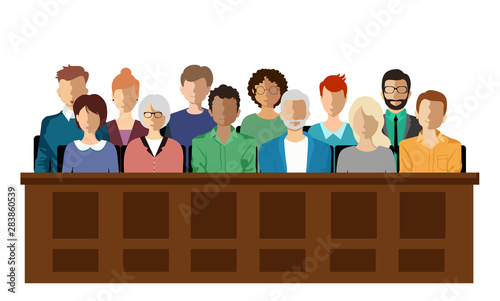 Canvastavla Twelve jurors sit in a jury box at a court trial,  vector illustration
