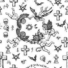 Seamless Background With Angels, Demons And Crosses. Vector Engraved Illustration In Gothic And Mystic Style. No Foreign Language, All Symbols Are Fantasy