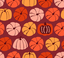Seamless Pattern With Hand Drawn Pumpkin In Cartoon Style. Flat  Background Of Pumpkins And Squash On Burgundy Background. Autumn Texture For Thanksgiving, Harvest And Halloween. Vector Illustration