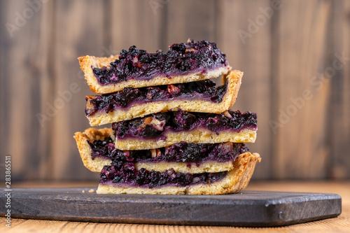 Closeup view of blueberry pie pieces, Homemade organic dessert Wallpaper Mural