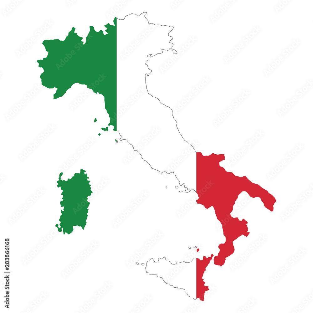 Fototapeta vector map of italy flag on white background